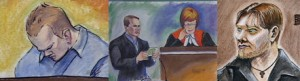 Drawings of Jeremy Steinke in Court. Images courtesy of Medicine Hat News.