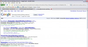 Google Search for 'StoresOnline internet marketing conference'