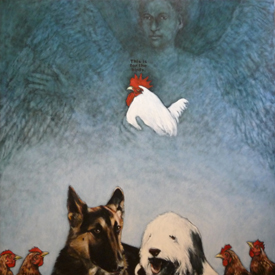The Chicken Angel, oil on panel, 2009, 122 x 122 cm