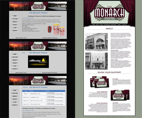 The Monarch Website Screenshots - Side by Side