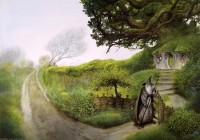 Gandalf outside Bag End by John Howe